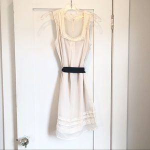 Anthro Pins and Needles Cream Sheer Dress